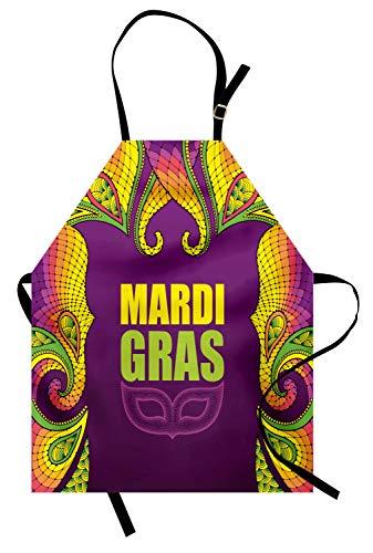 ABAKUHAUS Mardi Gras Kochschürze, Dotwork Style Karneval Maske Bunte Spitze inspiriert Design-Element, Farbfest Höhenverstellbar Waschbar Klarer Digitaldruck, Lindgrün Lila Gelb