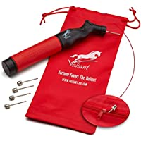 Sports Ball Pump Inflator with 5 needle (Pin) and Pouch, Dual Action Hand Held Portable Air Ball Pump with pins to Inflate Athletic Soccer Ball, Football, Volleyball, Rugby-Ball, and Basketball