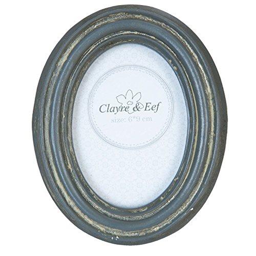 Clayre & Eef 2F0357 Bilderrahmen Fotorahmen oval grau ca. 10 x 12 cm Bildausschnitt ca. 6 x 9 cm