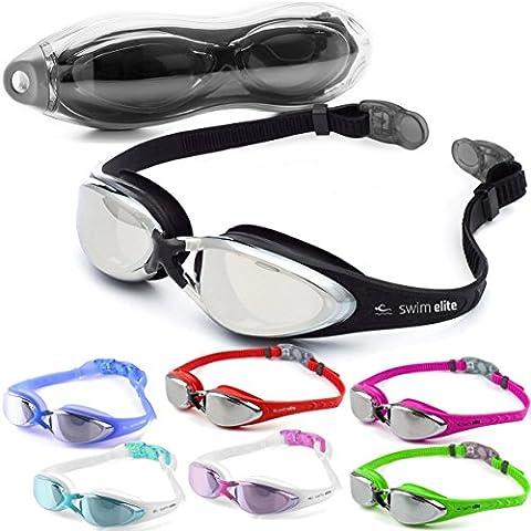 Swim Elite Lunettes de Natation - UV and Anti Fog Protection - For Adults, Juniors, Kids - Indoor and Outdoor including Triathlon / Lido Training - Black, Blue, Pink, Red or Aqua (Aqua Green)