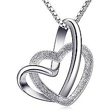 5ee029ae0cda B.Catcher Damen Herz Kette 925 Silber Anhänger Halskette   Doppel Liebe  Herzen