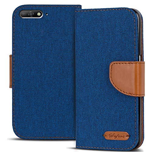 Conie Textil Hülle kompatibel mit Huawei Y6 2018, Booklet Cover Blaue Handytasche Klapphülle Etui mit Kartenfächer