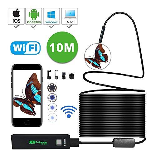 KOBWA Wireless Endoskop, WiFi Endoskopkamera Wasserdichte Inspektionskamera,Video-Endoskop mit 2 Megapixel 1200P HD Boreskope Schlange Kamera für Android und IOS Smartphone, IPhone, Samsung, Tablet