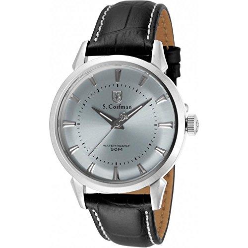 S Coifman SC0282 Mens Black Leather Strap Watch