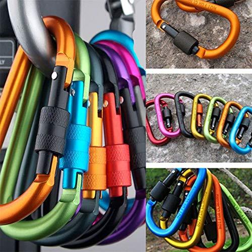 UNHO 6Pcs Aluminium Locking Karabiner, gefedert D-Ring Form Schlüssel Kette Clip Haken für Schaukel, für Camping Wandern Angeln (Farbe zufällig) -