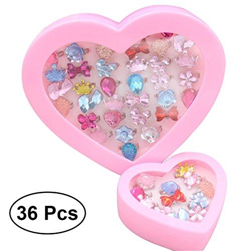 TOYMYTOY 36pcs Bunte Kristall Kinder Ringe mit Herzform ()