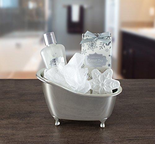 BRUBAKER Vanilla Bade-Geschenkset mit Badewanne silber 5-teilig