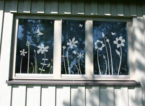 """Fensterbilder Fenstertattoo - """"Blümchenwiese"""" Milchglasfolie mit Silberglitzer"""