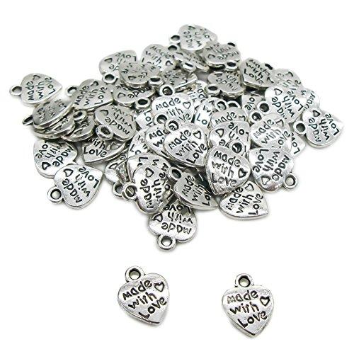 TOAOB Antik Silber Tibetanische MADE WITH LOVE Herz Anhänger Valentine's Day Schmuckzubehör Basteln Charms Für Halskette Armband Packung mit 100 Stück