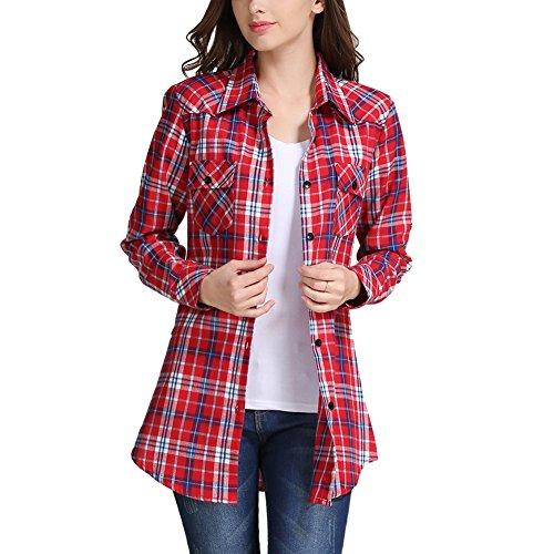 iBaste Femmes Chemise 100% Coton à Carreaux Lâche à Manches Longues à Grille Occasionnel Hauts Décontractée Rouge