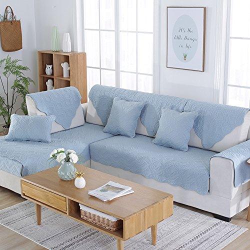 Copridivano reversibile,four seasons universal mobili protector per 1 2 3 4 cuscini divano fodera per divano a braccio divano letto protector per cane divano posti universale-azzurro 110x240cm(43x94inch)