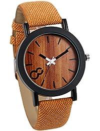 c9e64b61a221 JewelryWe Reloj de Diseño Madera para Hombre Caballero