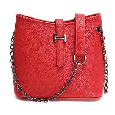 SUNNY KEY-Borsa a tracolla @ Donna Borsa a tracolla PU (Poliuretano) Poliestere Per tutte le stagioni Casual Rotondi Con fermaglio Rosso Rosa Marrone , blushing pink red