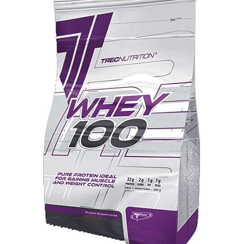 WHEY 100 900g - Suero Concentrado de Proteína en Polvo - aumentar la masa muscular Weight Gainer - NUTRICIÓN TREC - ganar músculo y Control de Peso - La mejor proteína para construir músculos (chocolate hawaiano)