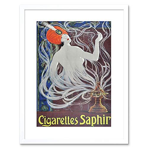 9x7 '' Advert Cigarettes Saphir Smoking Turban Nouveau Framed Art Print F97X050 -
