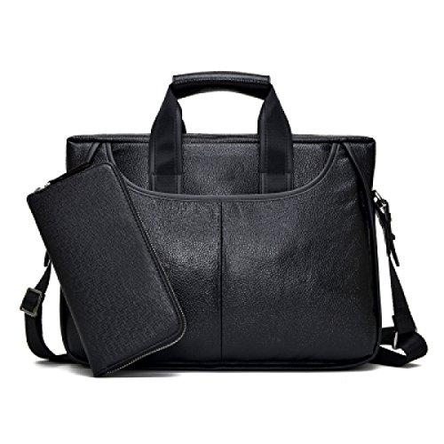 Männer Handtasche Herren Tasche Umhängetasche Messenger Bag Horizontal Computer Tasche Aktenkoffer Black