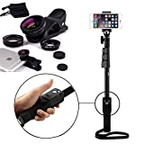 Apple iPhone 7 Plus Compatible Certified YT-1288 Bluetooth Wirelesss Selfie Stick with Universal 3 in 1 Mobile Camera Lens with WIDE, MACRO, FISH-EYE, Carrying Pouch, for Smart Phone Photography