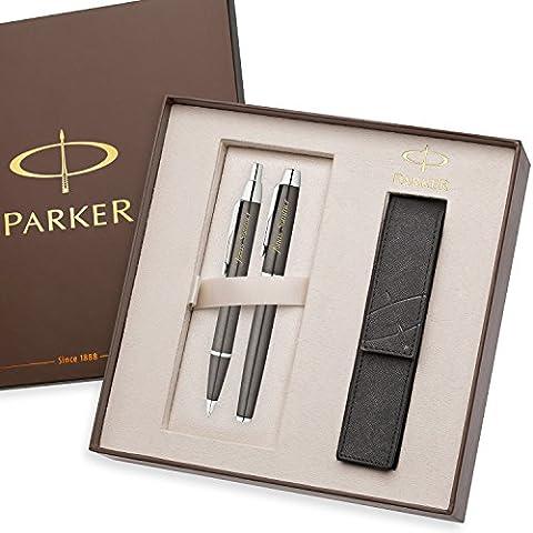 PARKER Schreibset IM Gunmetal C.C. mit Laser-Gravur Füllfederhalter und Kugelschreiber