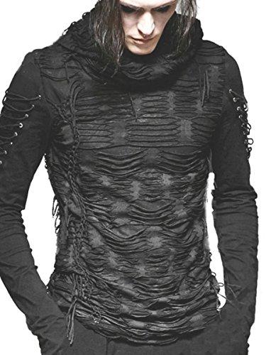 Dark Dreams Gothic Steampunk EBM Punk Rave Industrial Visual Kei Top Shirt Hoodie Kapuze Razorcuts S M L XL, Größe:S/M (Rave Kapuze)