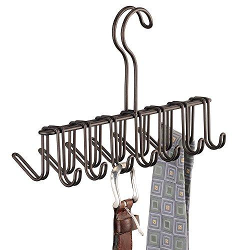 InterDesign Classico Krawattenhalter, Bügel aus Metall mit 14 Haken für Gürtel und Krawatten, bronzefarben (Kleiderbügel Im Badezimmer)