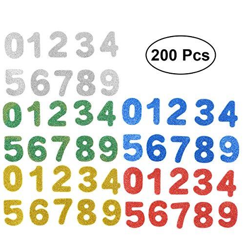 0-9 Zahlen Sticker Selbstklebende Glitzernde EVA Aufkleber für Kinder ()