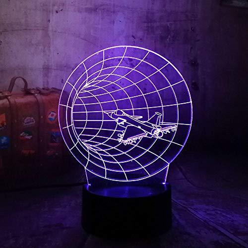 Kreuzung Ein Licht (3D Nachtlicht, Amazing Time Machine 3D 7 Farbwechsel Nachtlicht Flugzeug Kreuzung Schreibtischlampe Farbverlauf Freund Familie Kind Geburtstagsgeschenk)