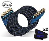 MutecPower Premium - High Speed HDMI Kabel mit Ethernet 5 Stück 1m - 1.4a / 2.0 kompatibel - (unterstützt Full HD 3D & Audio Return Channel) - 1 Meter - 5 Stück
