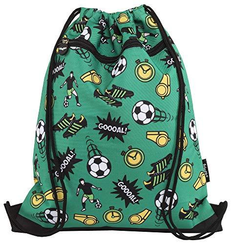 FRINGOO® Kids Drawstring Bag with Front Zipped Pocket PE Kit Bag School Backpack (L:34cm*H:42,5cm, Football)