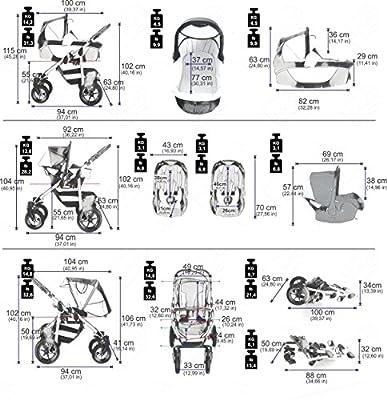 bebebi | Modelo Sidney | Neumáticos de Aire en negro | Carrito 3en 1