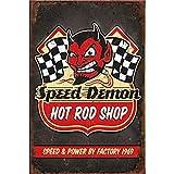 VACFIT Panneaux métalliques Speed Demon Hot Rod Shop Speed & ☛ Power par Factory 1969 Vintage Poster Mural en étain 30 x 20 cm Cadeau pour Amis