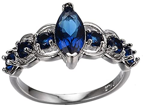 SaySure 10KT White Gold Filled Sapphire Anniversary Wedding & Engagement