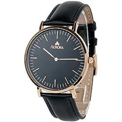Aurora Women's Metal Retro Casual Black Dial Quartz Analogue Wrist Watch with Black Leather Band-Rose Gold