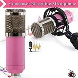 Best Vocales micrófonos de condensador - Zhuhaimei,Micrófono de grabación capacitiva con Amortiguador para radiodifusión(Color:Rosado) Review