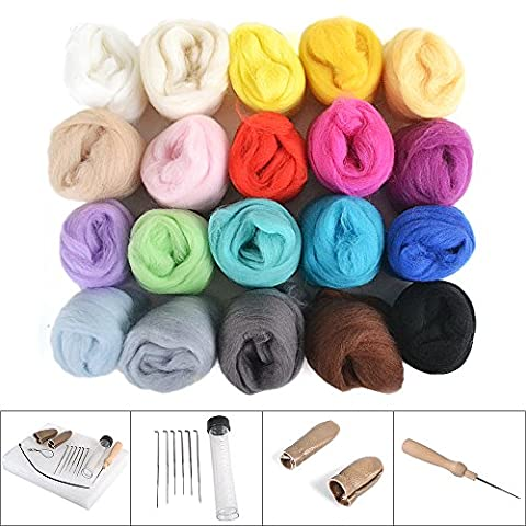 Rayinblue DIY Needle Felting Wool Yarn Roving 20 Colors Kit