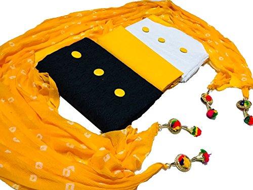 Vaankosh Fashion Women\'s Combo Set of 2 Kurti Dress Material with 1 Bottom and 1 Dupatta (Black, White, Yellow)