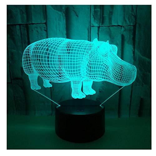 Veilleuse LED Effet visuel 3D,interrupteur tactile,conversion sept couleurs,belle lampe d'ambiance,beau cadeau de vacances pour les enfants et les amis,Hippopotame_a