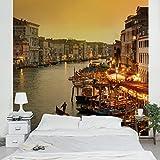Apalis Vliestapete r Kanal von Venedig Fototapete Quadrat | Vlies Tapete Wandtapete Wandbild Foto 3D Fototapete für Schlafzimmer Wohnzimmer Küche | Größe: 192x192 cm, gelb, 95347