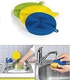 CLEANmaxx 02619 Silikonschwamm | 3-tlg. Set | Antibakteriell | 12/14 cm | Bürste | Schwamm