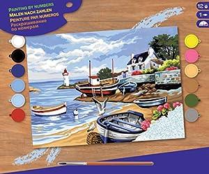 KSG 1035 Masterpiece - Cuadro para Colorear con números, diseño de Pueblo pesquero