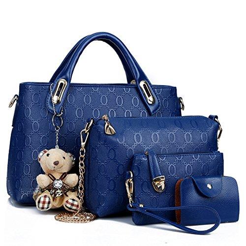 Bolsos de Moda,Coofit PU Piel Bolso de Mano Monedero Bolsas de 4 piezas (Azul)