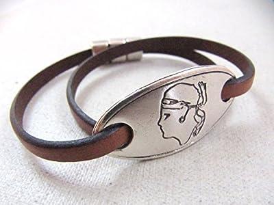 """Bracelet cuir """" Tête de Maure"""" ovale finition argent 925"""