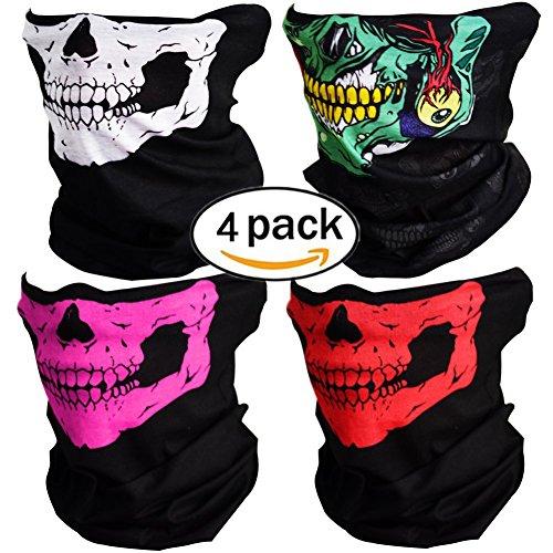tenkopf Maske Sturmmaske Skull skelett Maske Nahtlose Half Face Skull Tube Maske für Halloween (4 Einer Art Halloween-kostüme)
