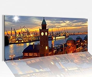Acrylbilder Hamburg amazon de acrylglasbild 100x40cm skyline hamburg hafen stadt