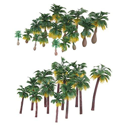 Sharplace 27pcs Landschaftsbau Palmen Baum Bäume Modelleisenbahn Modellbaum - Grün