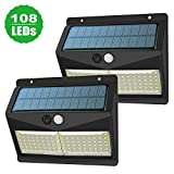 Solarleuchte für Außen, XJLED 108LED Solarlampen für Außen mit Bewegungsmelder,2000mAh Solar Aussenleuchte Solarlicht mit 3 Modi für Gartenzaun-Patio-Garage [2-Stück]