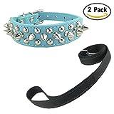 Newtensina Stilvoll Hundehalsband und Leinen Set Weich Nieten Hundehalsband mit Reflektierend Leinen für Hunde