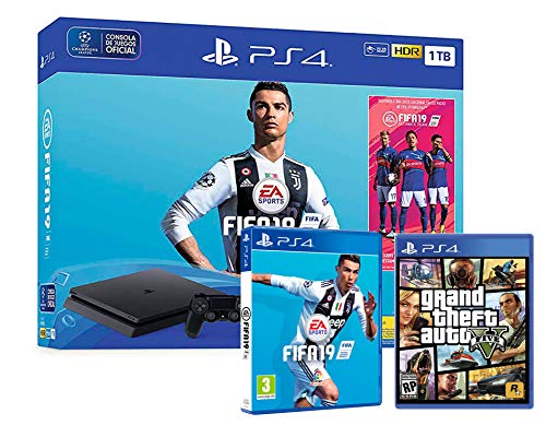 PS4 Slim 1TB schwarz Playstation 4 Konsole Pack: FIFA 19 + GTA V -