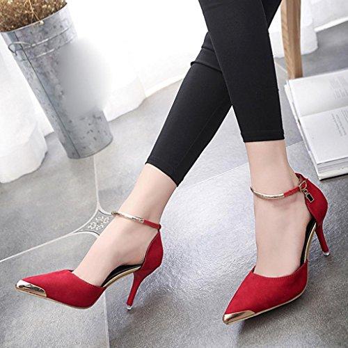 Transer  Metal-007, Sandales Compensées fille femme red