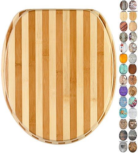 WC Sitz, viele schöne Holz WC Sitze zur Auswahl, hochwertige und stabile Qualität (Bambus gestreift)