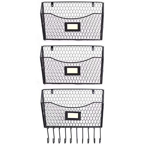 Beschan 3er-Pack Wand-Aktenhalter Hängendes Netz Metall Korb Draht Zeitungsständer Regal mit 10 Zubehörhaken - Wand-dateien Hängende